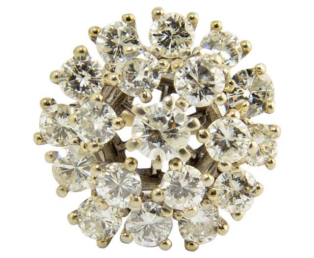 Diamond Snowflake Gold Cocktail Ring