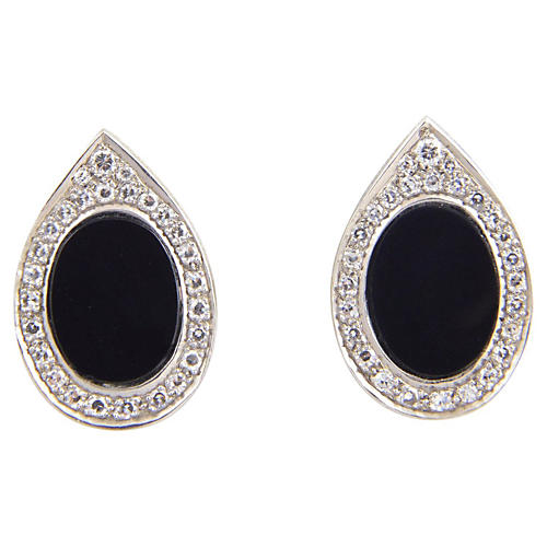 1970s Onyx & Diamond Earrings