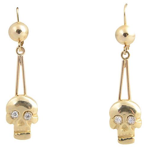 Skull Diamond & Gold Earrings