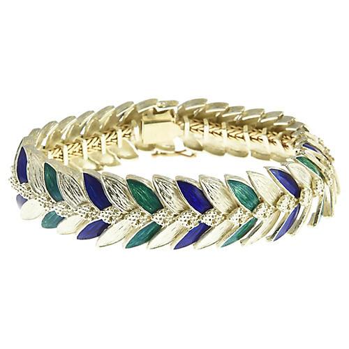 1970s Green & Navy Enamel Gold Bracelet