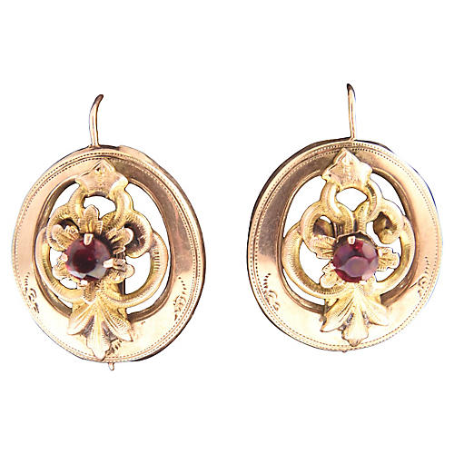 Victorian Garnet & Gold Floral Earrings