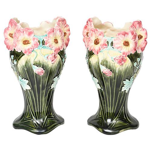 French Majolica Art Nouveau Vases, Pair