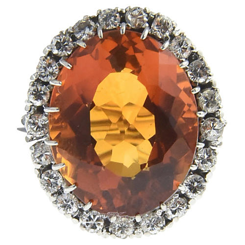 Large Citrine & Diamond Platinum Ring