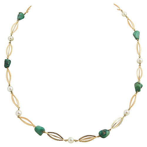 1970s Jade, Pearl & Etched Gold Necklace