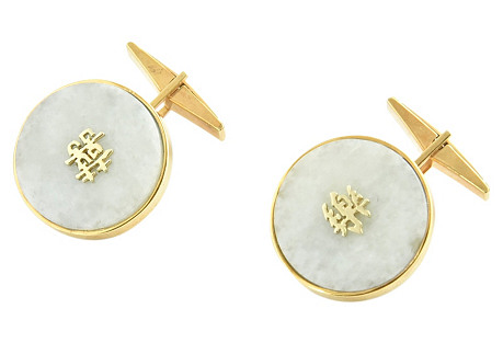 1950s Chinese Jade & Gold Cuff Links