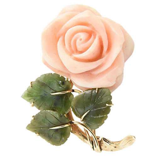 Coral Rose & Jade Leaves Gold Brooch
