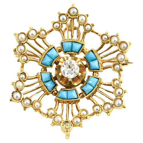 Victorian Turquoise & Pearl Star Brooch