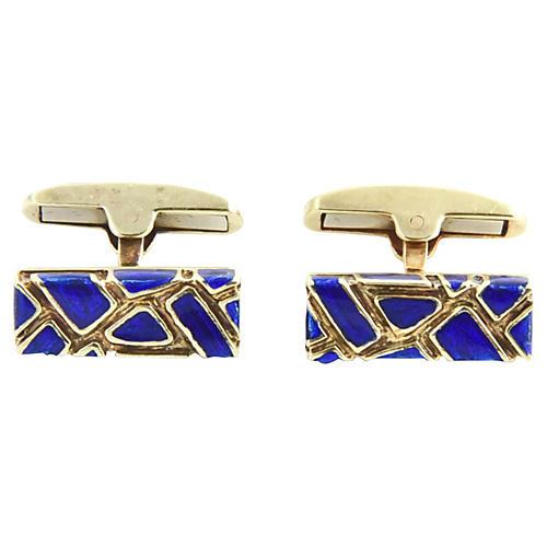 Geometric Blue Enamel & Gold Cufflinks