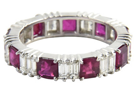 Ruby & Diamond Platinum Eternity Band