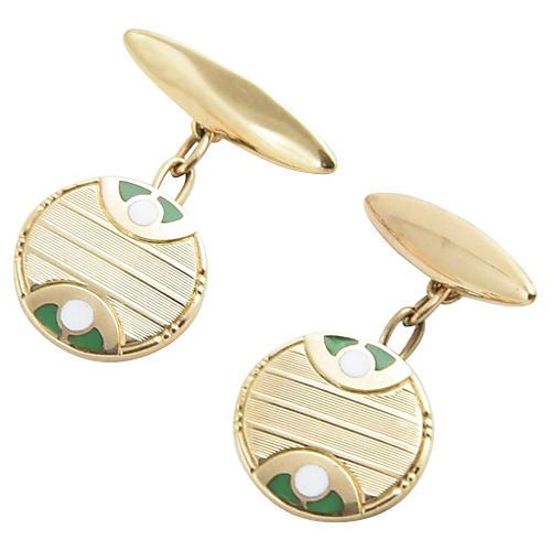 Deco Green & White Enamel Gold Cufflinks