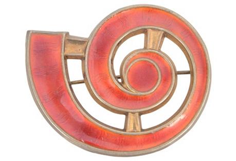 J. Tostrup Norway Red Enamel Brooch