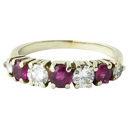 7-Stone Diamond & Ruby Ring