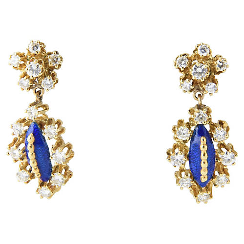 Blue Enamel & Diamond Gold Earrings