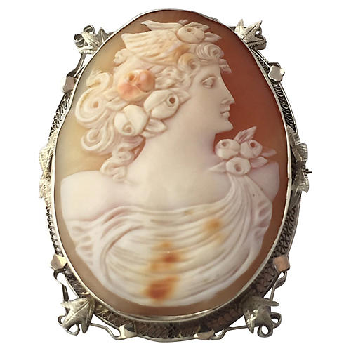 Art Deco Goddess Cameo Brooch/Pendant