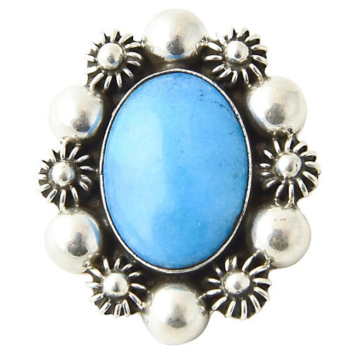 Turquoise in Silver Floral Frame Brooch