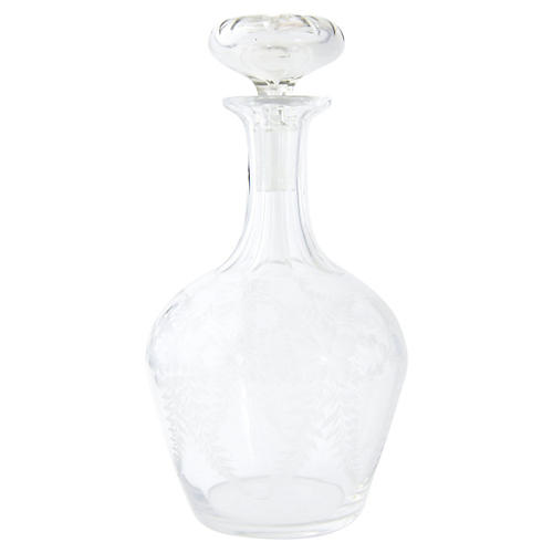Etched Floral Crystal Decanter