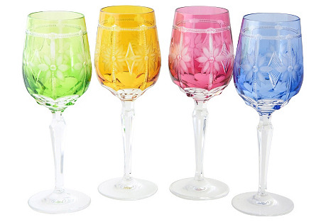 Four Floral Crystal Water Glasses