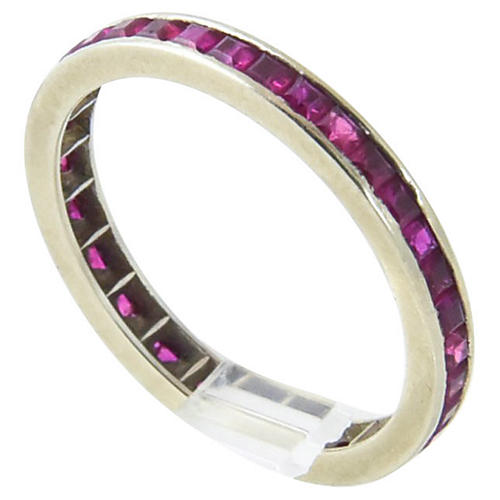 Channel-Set Ruby & Gold Eternity Band