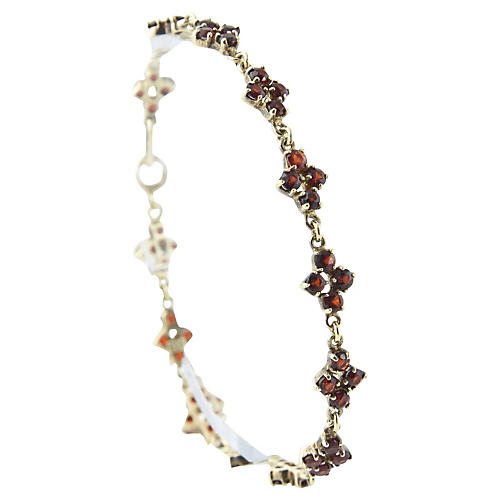 Garnet Flower & Gilt Sterling Bracelet