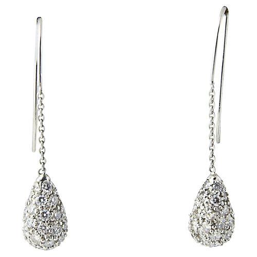 Diamond Teardrop Dangle Earrings