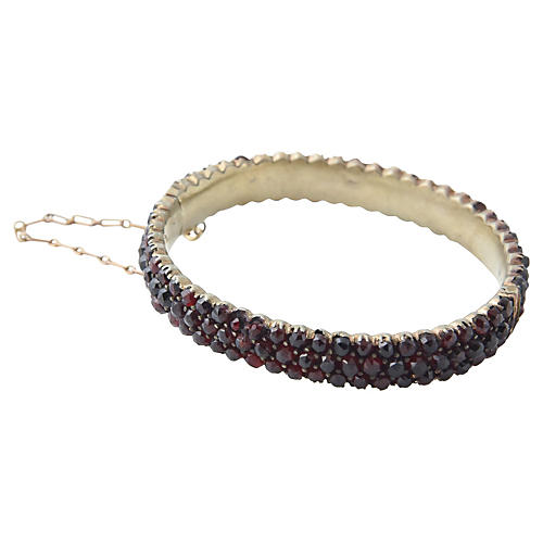 Victorian Bohemian Garnet Hinged Bangle