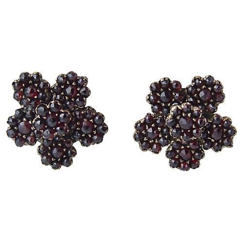 Victorian Large Garnet Flower Earrings