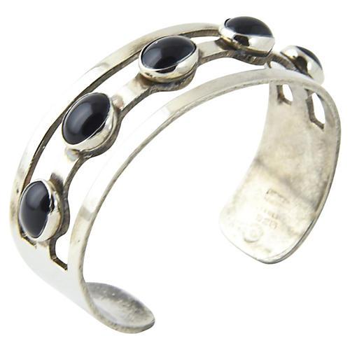 Streamline Onyx & Silver Cuff Bracelet