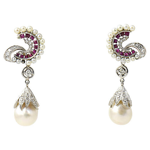 1950s Diamond, Ruby & Pearl Earrings