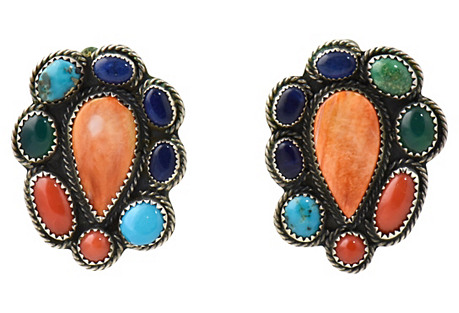 Navajo Silver & Multi-Gemstone Earrings