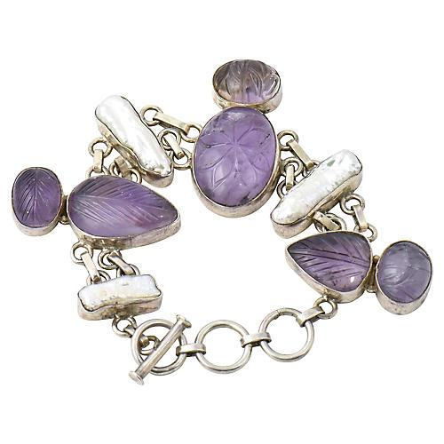 Carved Amethyst & Pearl Bracelet