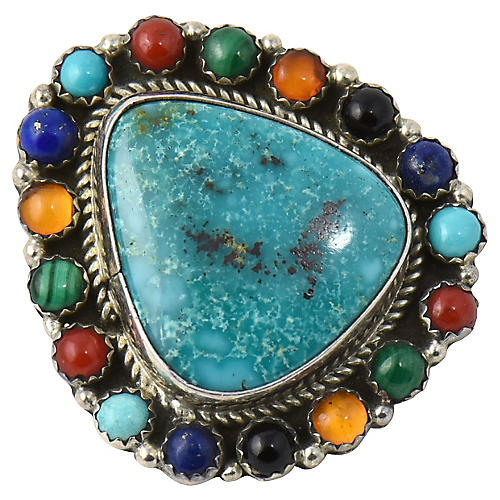 Turquoise & Multi-Stone Pendant/Pin