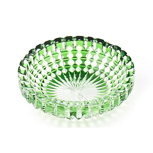 Bohemian Green Cut-Crystal Ashtray Bowl