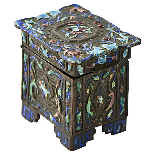 Chinese Floral Enameled Stamp Box
