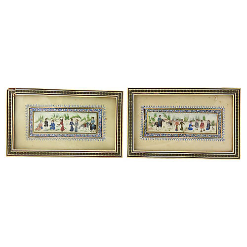 Persian Paintings w/ Marquetry Frames