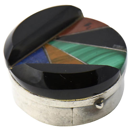 Mexican Silver & Stone Inlay Pill Box
