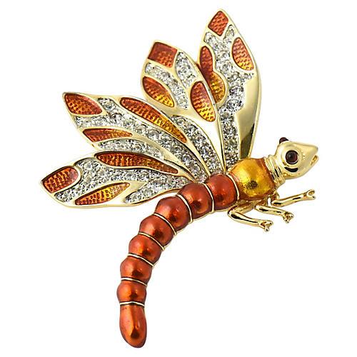 Judith Leiber Enamel Dragonfly Brooch