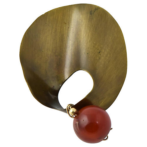 Mexican Modernist Agate Sterling Brooch