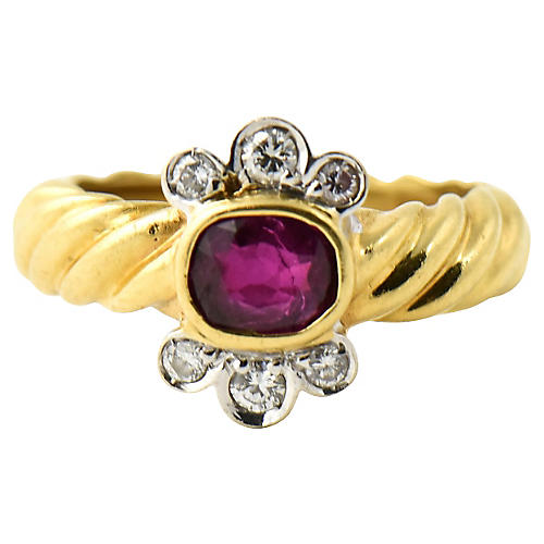 Italian Gold Ruby & Diamond Ring