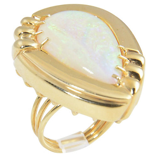 1970s Large Opal & Gold Statement Ring