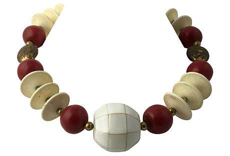 Tribal Style Red, Cream & Brass Necklace