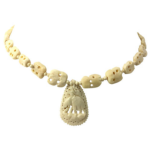 Carved Bone Elephant Pendant Necklace
