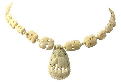 Carved Bone Elephant Pendant Necklace