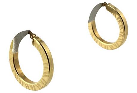 Zebra Stripe Gold Hoop Earrings