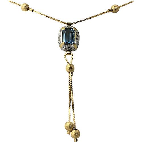 CZ & 18K Gold Lariat Necklace