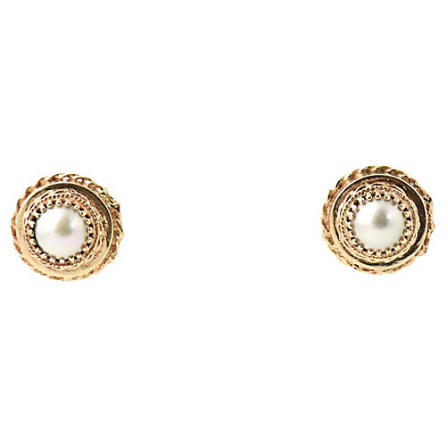 Midcentury Mabe Pearl & Gold Earrings