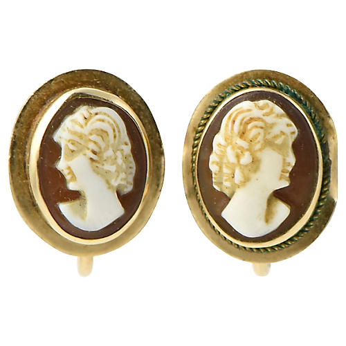 Victorian Shell Cameo & Gold Earrings