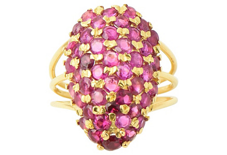 Pavé Ruby Dome Gold Ring