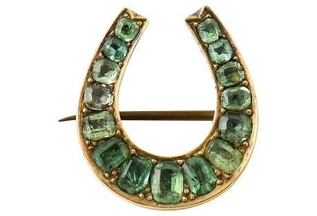 Emerald & Gold Horseshoe Pin