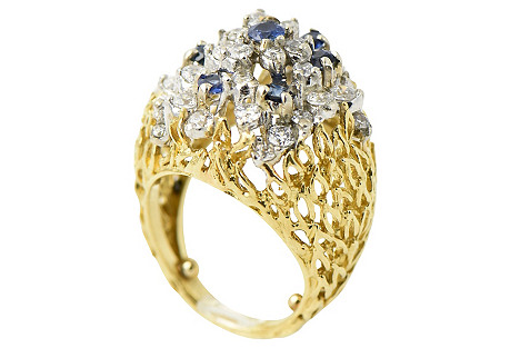 Sapphire, Simulted Diamond & Gold Ring