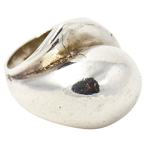 Modernist Sterling Silver Dome Ring